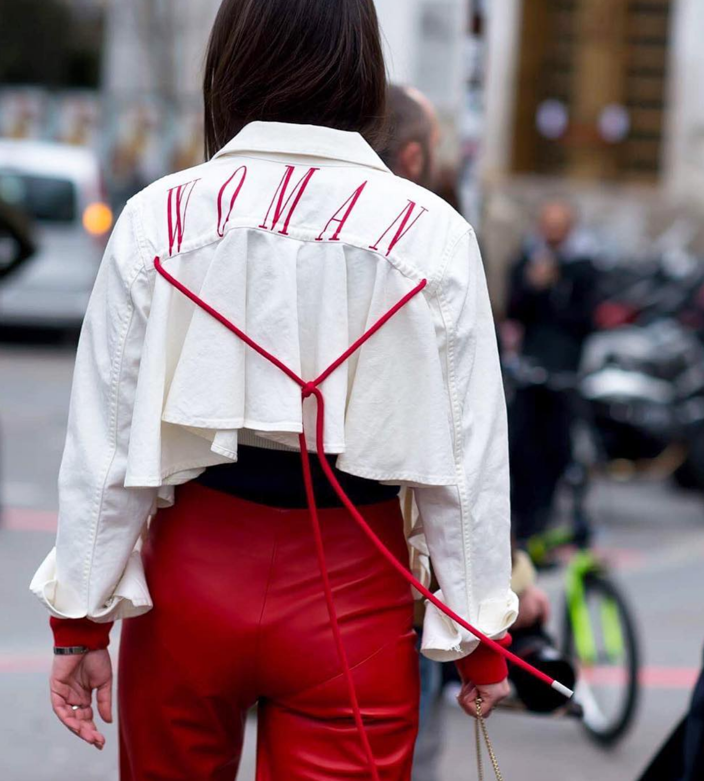 woman off-white denim jacket by virgil abloh