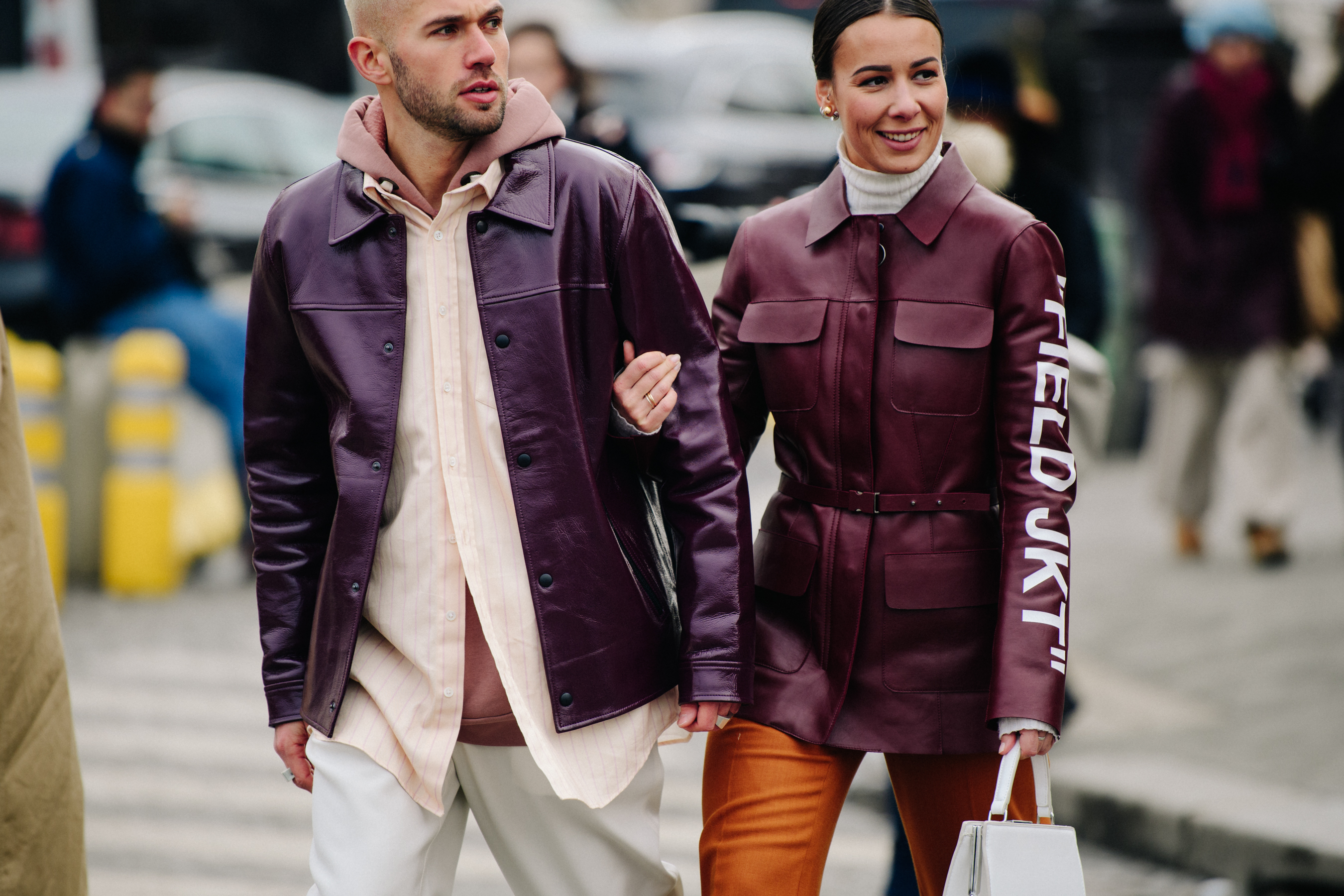 Couple wearing red leather jackets