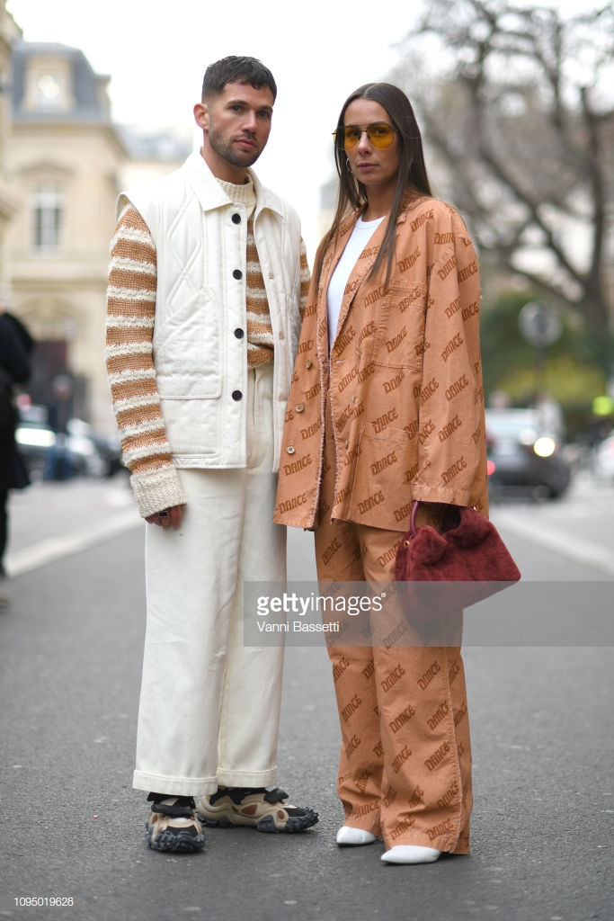 PARIS, FRANCE - JANUARY 16: (L-R) JS Roques and Alice Barbier attend the Acne Studio Menswear Fall/Winter 2019-2020 show as part of Paris Fashion Week on January 16, 2019 in Paris, France. (Photo by Vanni Bassetti/Getty Images for Acne Studios)