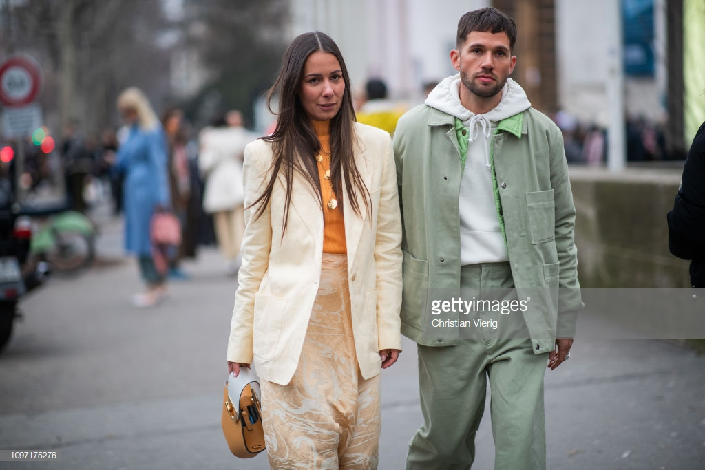 PARIS, FRANCE - JANUARY 20: Couple Alice Barbier and Jean-Sebastian Rocques is seen outside Acne during Paris Fashion Week - Menswear F/W 2019-2020 Day Six on January 20, 2019 in Paris, France. (Photo by Christian Vierig/Getty Images)
